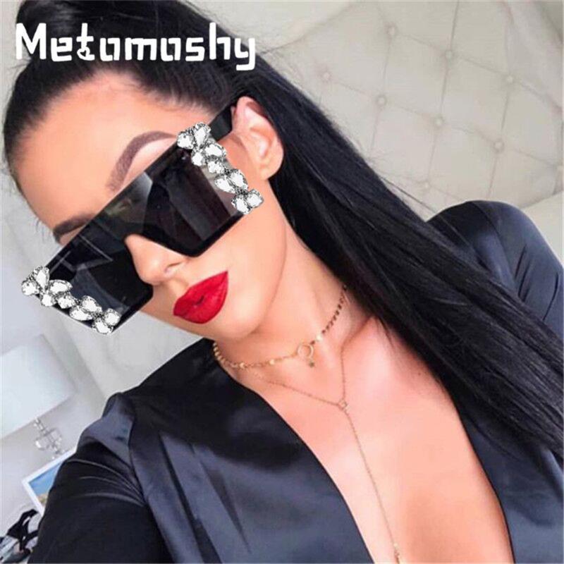 Diamond Square mulheres apartamento espelho de espelho strass óculos de sol top vermelho vermelho máscara óculos lente marca homens claros gafas uv400 joxbo