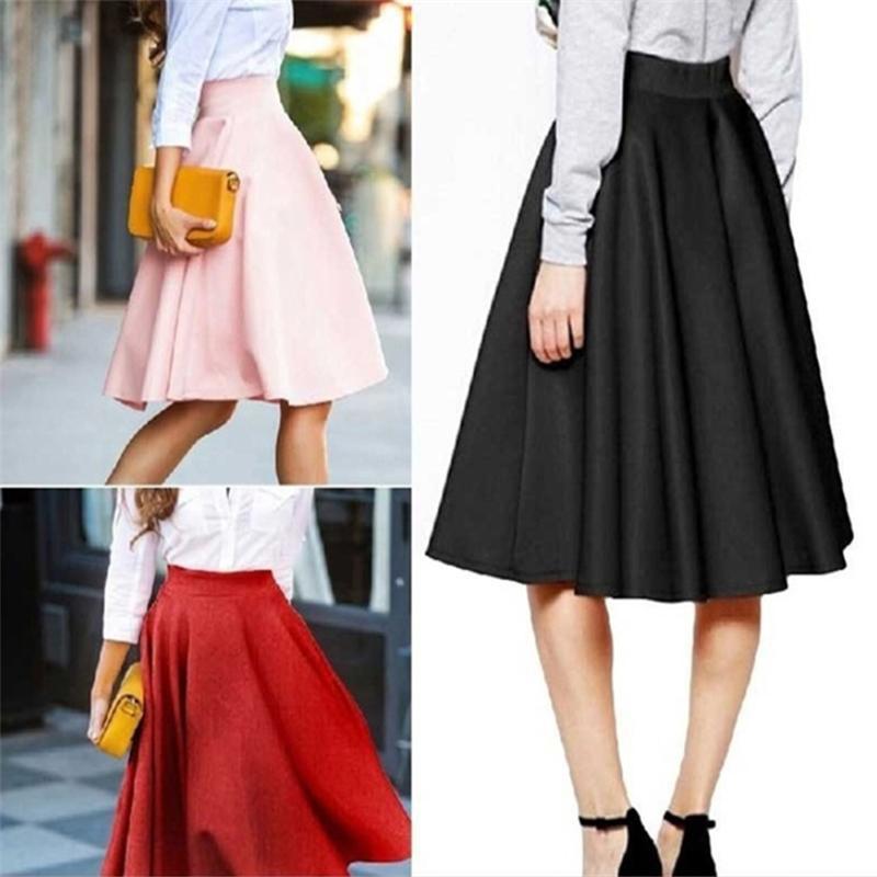 여름 치마 고체 인과 높은 허리 여자의 주름 치마 미디 스커트 라인 스커트가 mujer MODA 2020 jupe의 팜므 의류 faldas