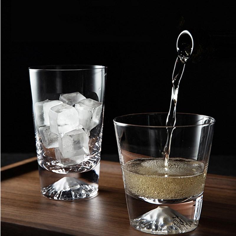 Творческий Фудзи чашки Стаканы Drinkware снег горы стекло бытовой хрусталь бывающая / коктейль чашки ручной огранки Простой обзор Бутылка 0215