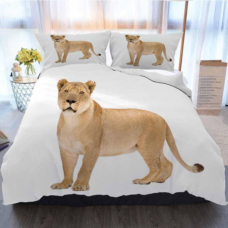 Ropa de cama Conjunto 3 piezas funda nórdica, de 8 años panteras Leo Leona aislado en fondo blanco, suave edredón del consolador cubierta Casa de lujo