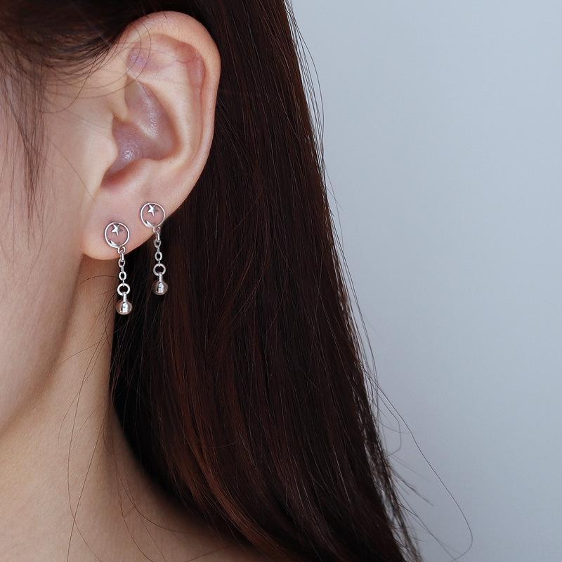 nNcHp Gu Maoning adapté aux perles rondes à long étudiants visage rond étoiles à la mode des femmes de fille douce Lune petites et boucles d'oreilles étoiles Boucles d'oreilles