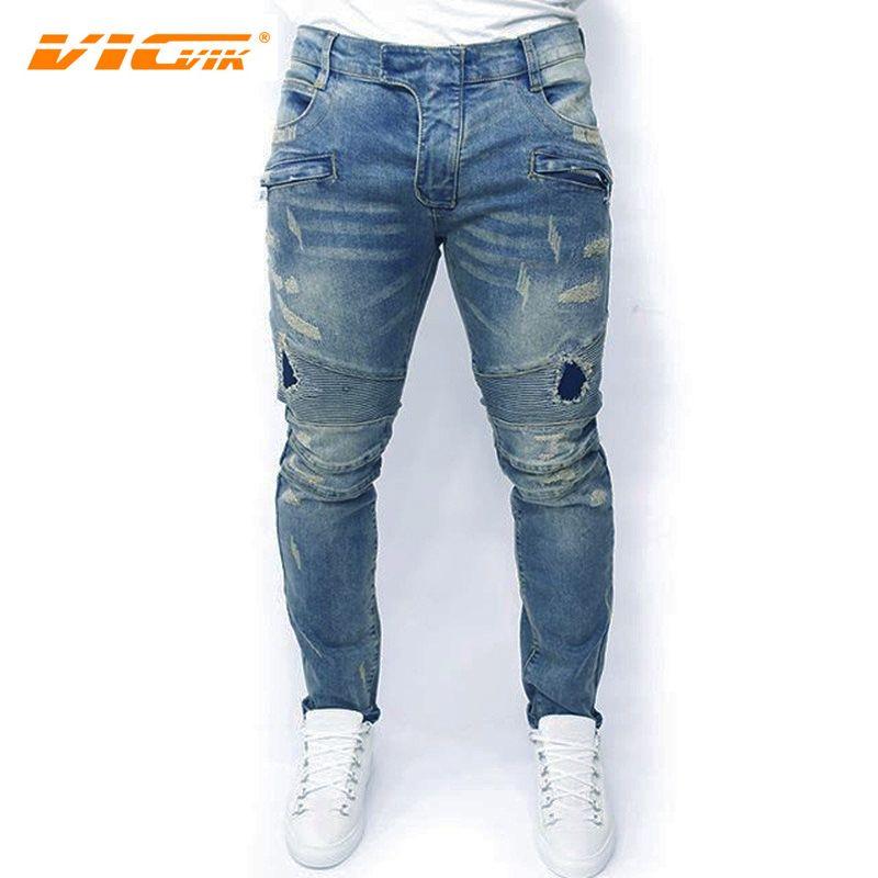 VICVIK Marka Jeans Erkekler Erkek Biker Kot Pantolon Ripped Denim Pantolon Erkek Skinny Erkek Tasarımcı Giyim Denim Erkekler