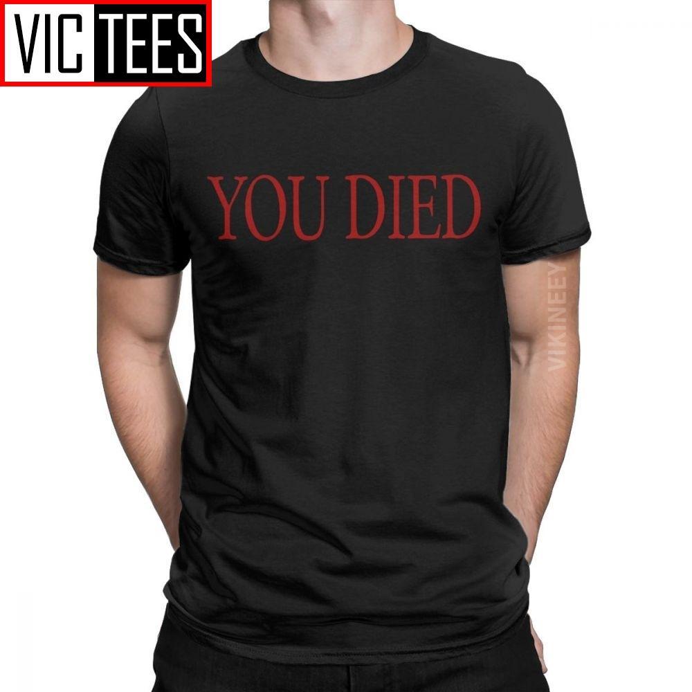 Você Morreu Dark Souls camiseta Homens Praise The Sun Bloodborne jogo Vintage Pure Cotton em torno do pescoço camiseta Único