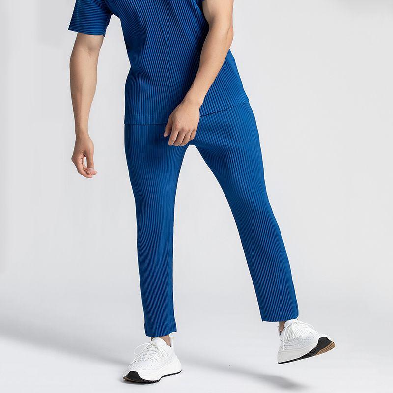 EWQ / Erkek Giyim Japon Streç Fold Kumaş İnce Stil Gevşek Geniş Bacak Pantolon Erkek LJ200908 Için Düz Pileli Rahat Pantolon