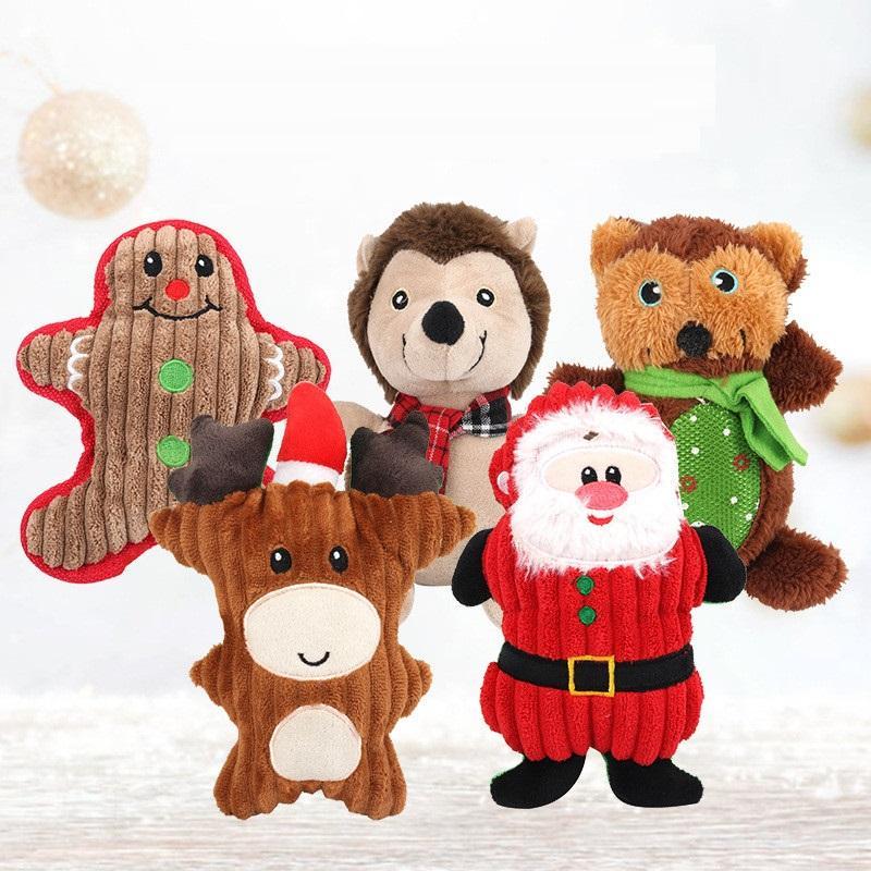 Noel Pet Peluş Vokal Oyuncaklar Santa Kardan Adam Ayı Şekilli Evcil Molar Bite Oyuncaklar Yavru Noel Hediyeleri HHE958