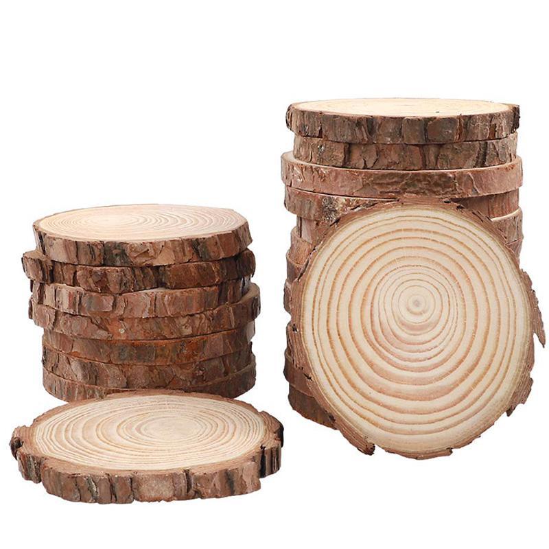 El Noel Süsler DIY Sanat Ru İçin Doğal Ahşap Dilimleri 40pcs 3.5-4.0 inç Yuvarlak Daireler Bitmemiş Ağacı Bark Günlüğü Diskler