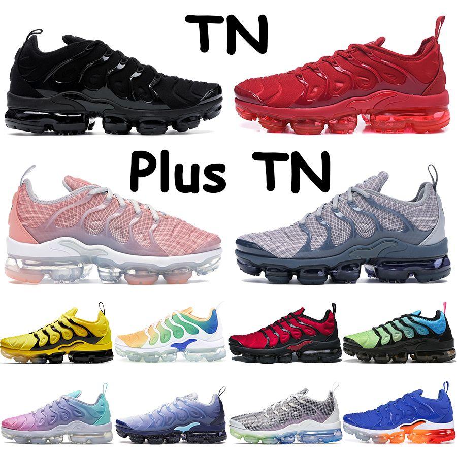 TN Plus Mens 러닝 신발 핑크 바다 표백 된 산호 순수 트리플 블랙 화이트 레드 레몬 라임 꿀벌 전압 보라색 남성 여성 운동화