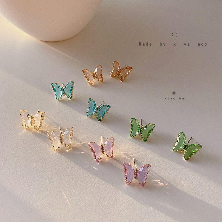 Pendientes de cristal de color caramelo de la joyería lado brillante de la nueva manera de Marca de pendientes de la mariposa de las mujeres elegantes del estilo simple