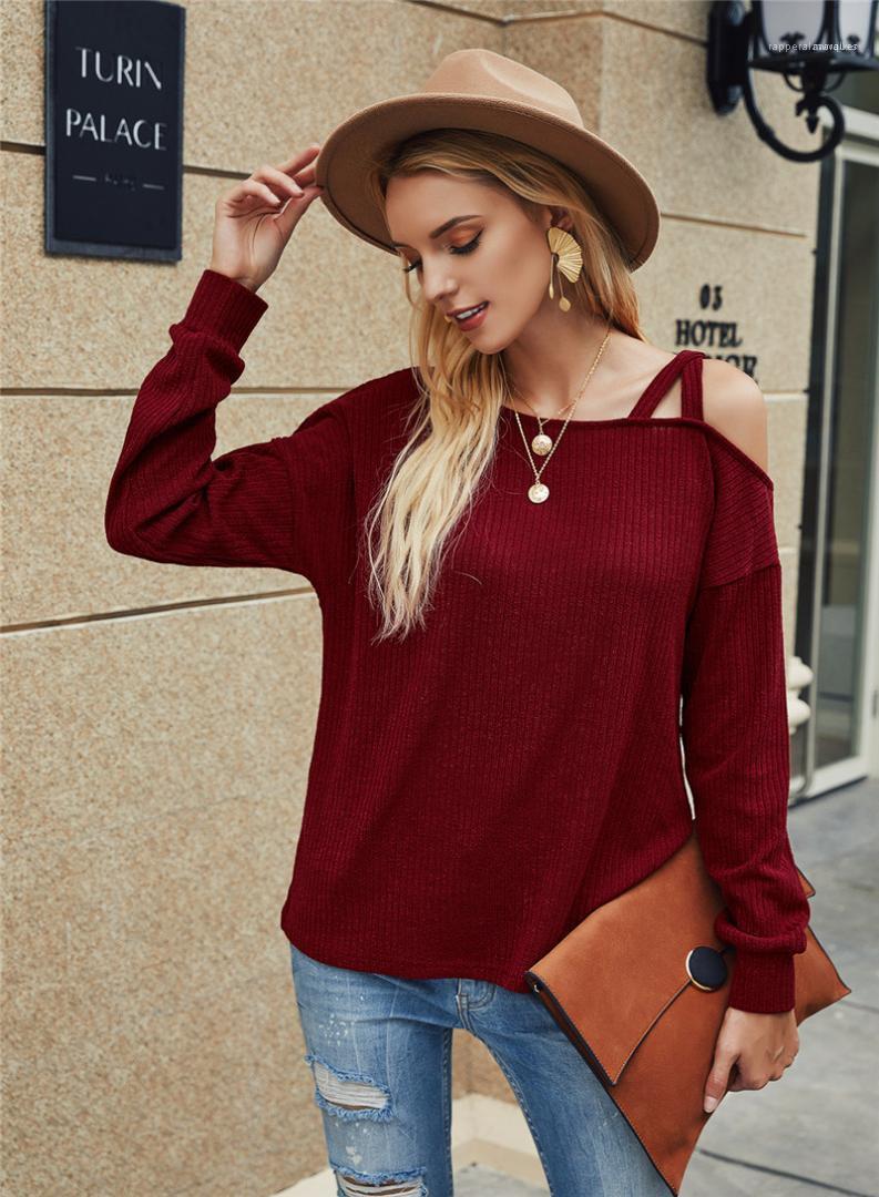Fashion Hot Style One Shoulder Tshirt Casual Long Sleeve Natural Color Tshirt Women Clothes Women Tshirt
