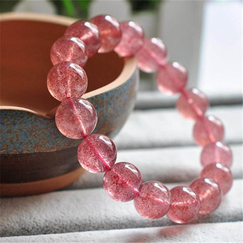 100% 12 milímetros Natural Genuine Red morango cristal de quartzo transparente estiramento Charme rodada Bead Bracelet