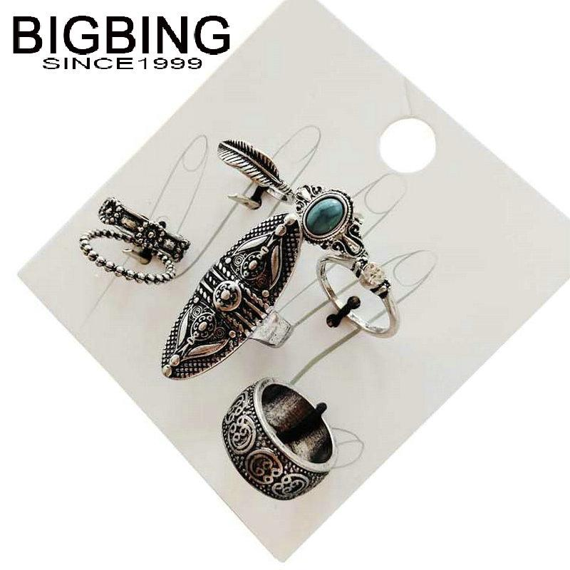 M079 BIGBING fashion 7 pieces retro silver color flower multi size golden simple finger ring set women fashion jewelry