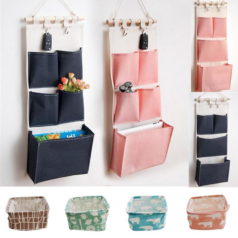 Bolso de almacenamiento de lino de lona de impresión de lona 5 bolsillos montados en la pared armario colgante bolsa de pared bolsa cosmética juguetes organizador