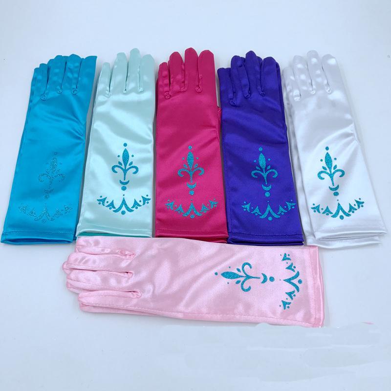 Principessa Guanti per Dress Little Girls fino Snow Queen Guanti Cosplay bambini pieni Finger Gloves per Halloween Party di Natale