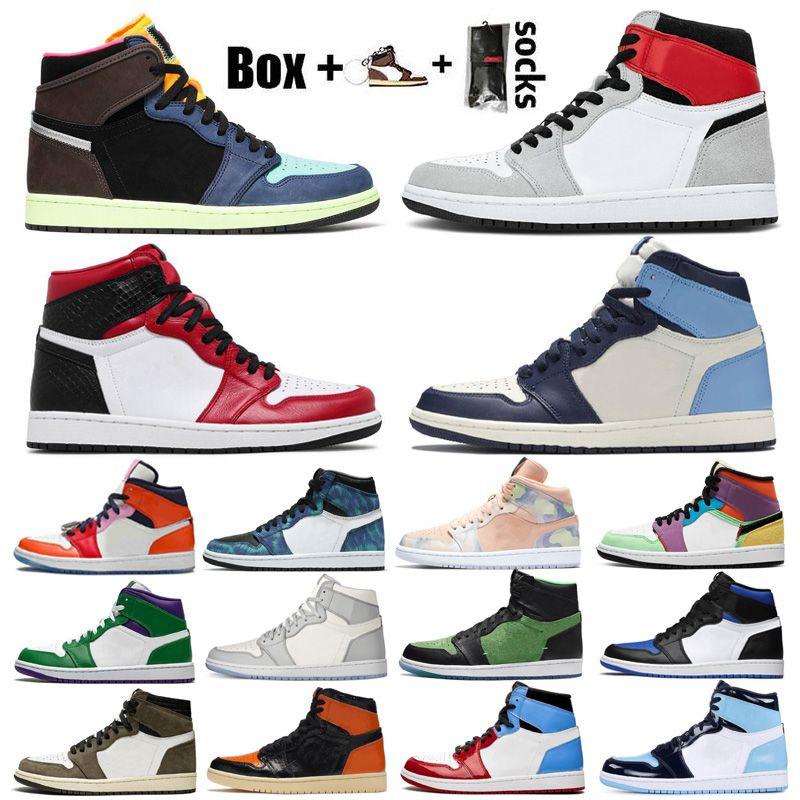 الجديد Jumpman 1 الرجال النساء أحذية كرة السلة 1S دخان رمادي العليا OG الحيوية هاك السلالة الحرير الأفعى شيكاغو المدربين أحذية رياضية مع صندوق