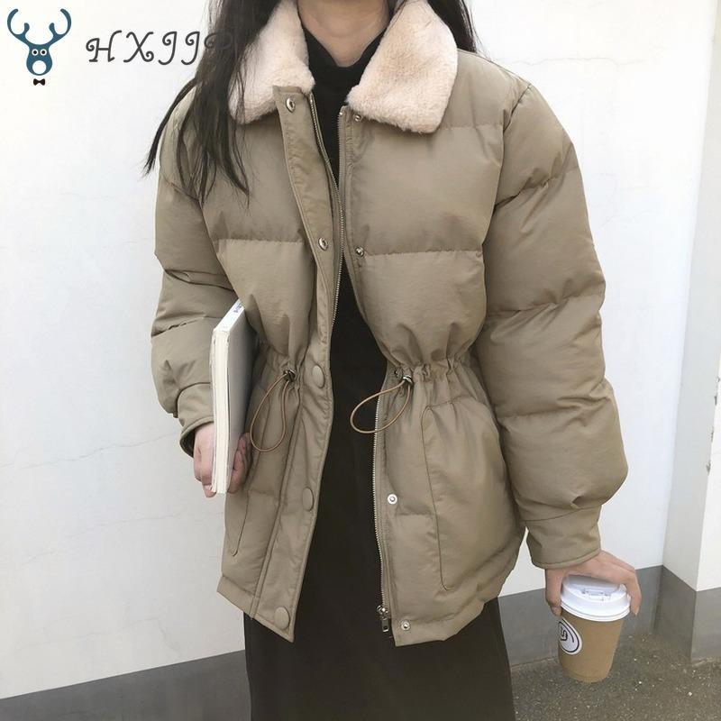 2020 Inverno coreano giù il cotone Pane cappotto di spessa tuta sportiva Donne coulisse in vita Faux della pelliccia del coniglio risvolto Warm Giubbotti per la donna T200915