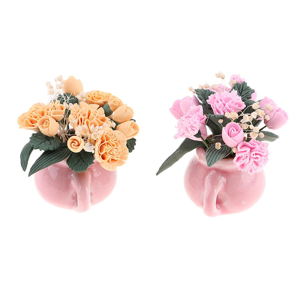 2ST 01.12 Puppenhaus Miniatur-Kinder DIY Accs Topf Carnation Lehm Begrünung Pflanzenkunst