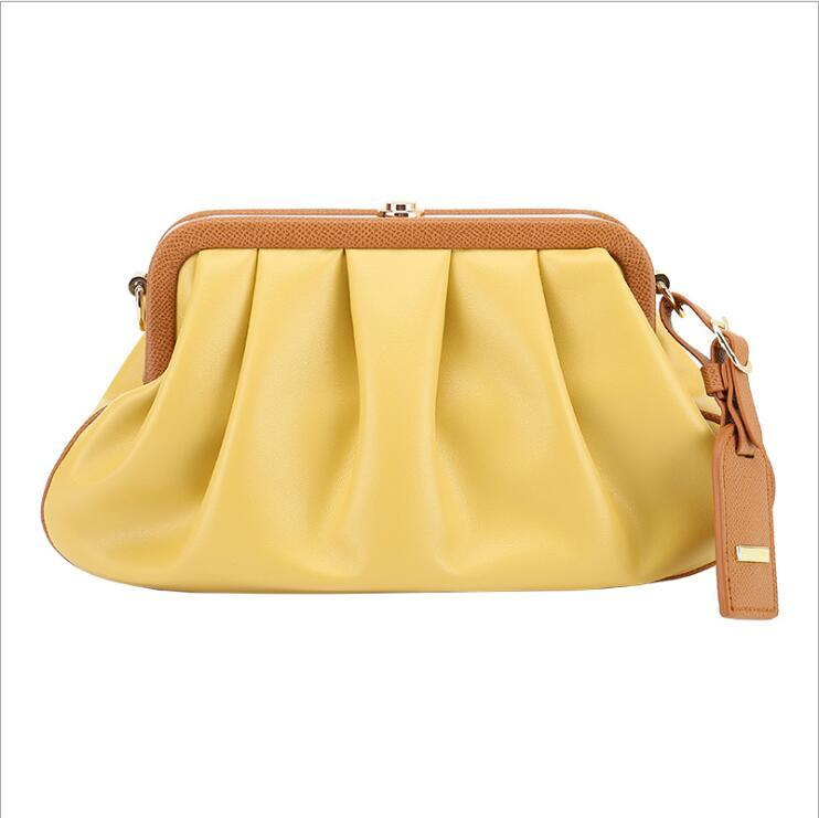 Bolso de hombro plisado multifuncional para mujer Bolsos de la nube de la nube Messenger Clutch Bag Single Chain ifmah