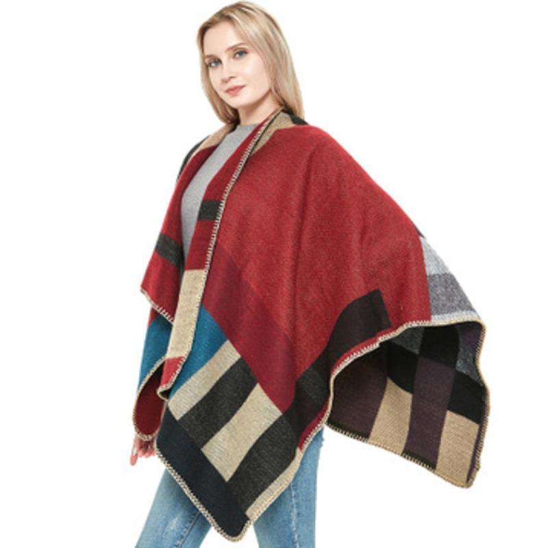 Oversized Runway Sweater Cardigan Olivia Palermo Catwalk Rua snap malha Cardigan manta Cape Poncho Xaile Mulheres Lady S118