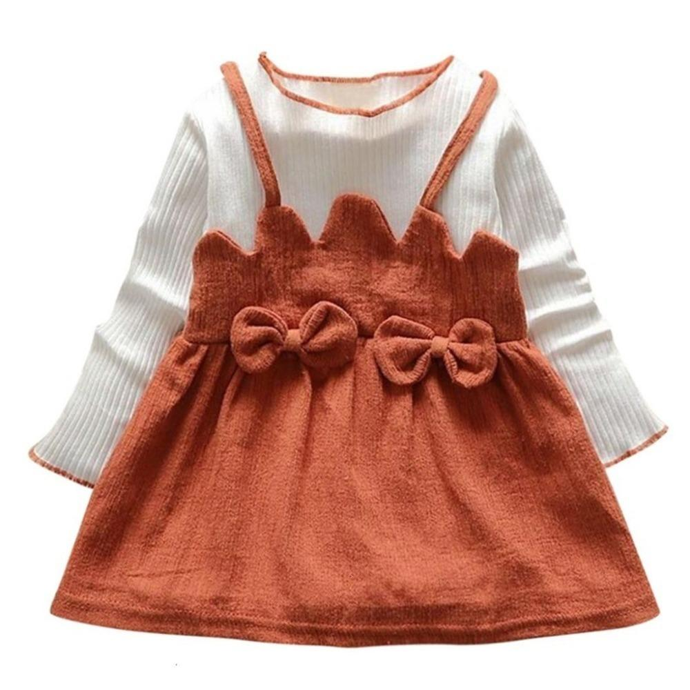 Clearance New autumn Toddler Kid Baby Girl Long Sleeve Bow Patchwork Party Princess Dress Tops 0116JFOL Deals