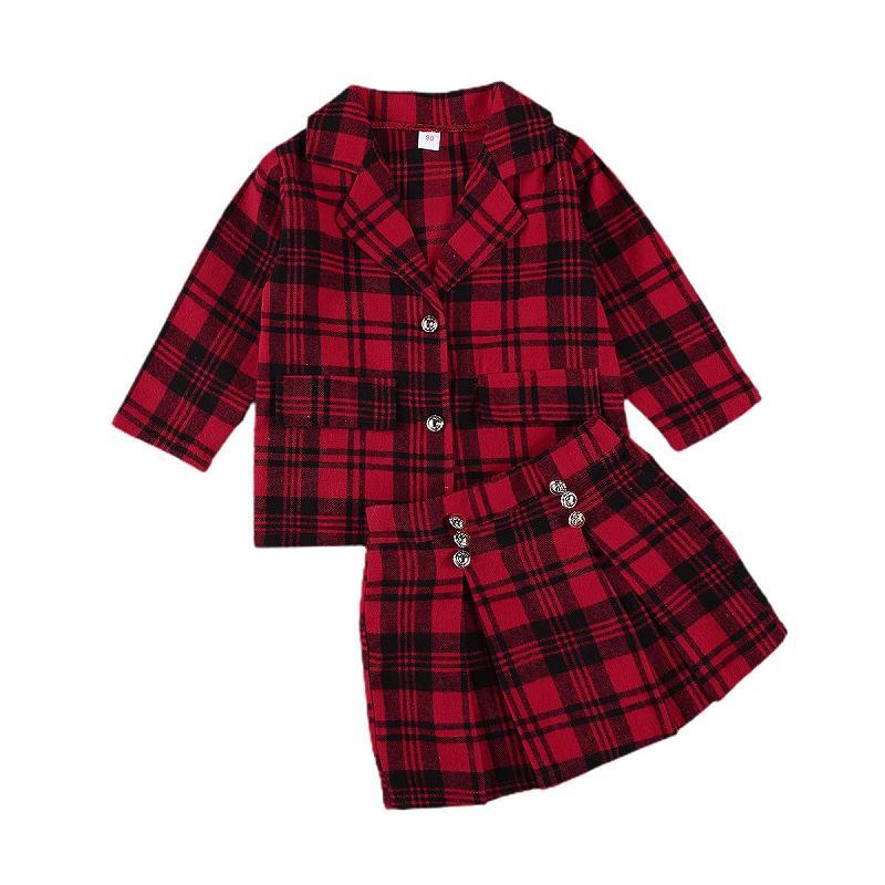 Abbigliamento Bambini Primavera Autunno nuova cucciolata ragazze plaid cappotti Giacca Gonna Outfits moda bambini plaid rosso stampato Gonna vestito M2696
