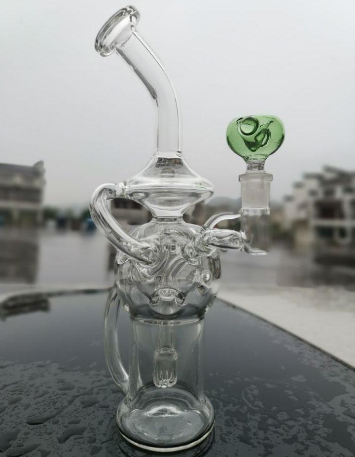 Hotshop Glasbecher Bong Showerhead Perc Recycler Dab Rig Ei Wasserrohre Bohrinseln Bubbler glattes Rohr mit Quarz Banger Oder Bowl