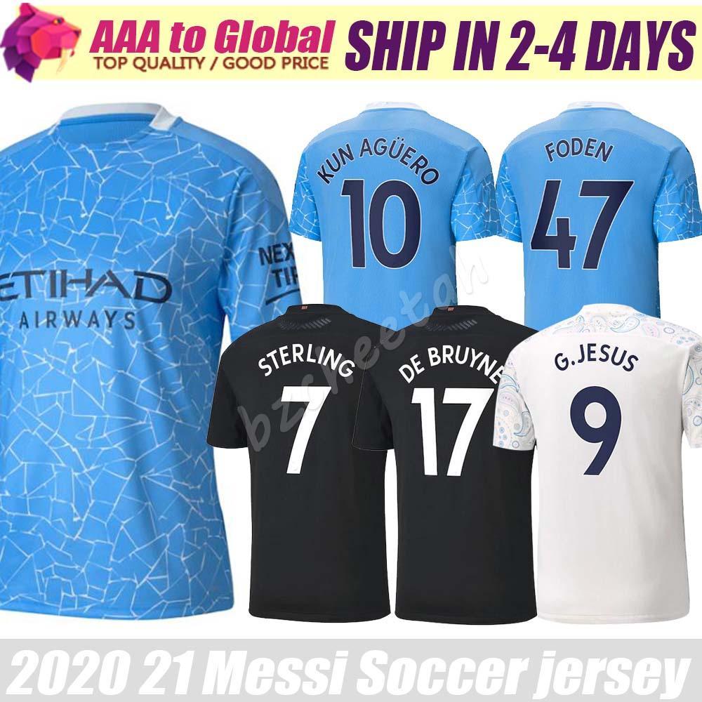 Топ Thail города Джерси 2020 2021 Camisas Главная Вдали Sterling Mahrez Кун Агуэро Де Брюйне Открытый Одежда Футбол Джерси рубашки футбола
