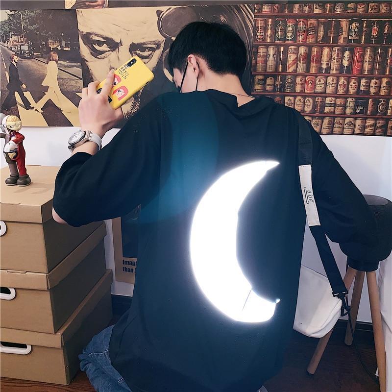 La mitad de la manga nuevas ins de verano marca de moda camiseta de la camiseta de los hombres todo-fósforo de reflexión sencilla de manga corta floja z2tY9 z2t pareja de moda de impresión