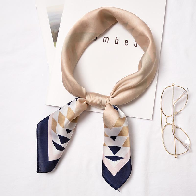 Druck 70 * 70cm Art und Weise Frauen Kleine Seidenschal gestreifte Kopfbedeckung Griff Tasche Band Marke Schal Kleine Quadrate S