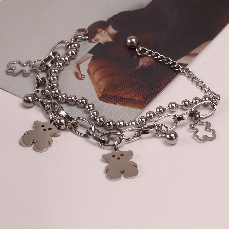 DDYRU Titanio acciaio a doppio strato hip hop in di nicchia disegno braccialetto stile coreano braccialetto colorfast personalità semplice di Harajuku donne orso