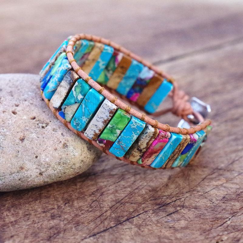 Pulsera de cuero de bricolaje hecho a mano Pulsera de piedra natural Pulsera Pulsera Boho Jewelry Cuero Wrap para mujeres hombres