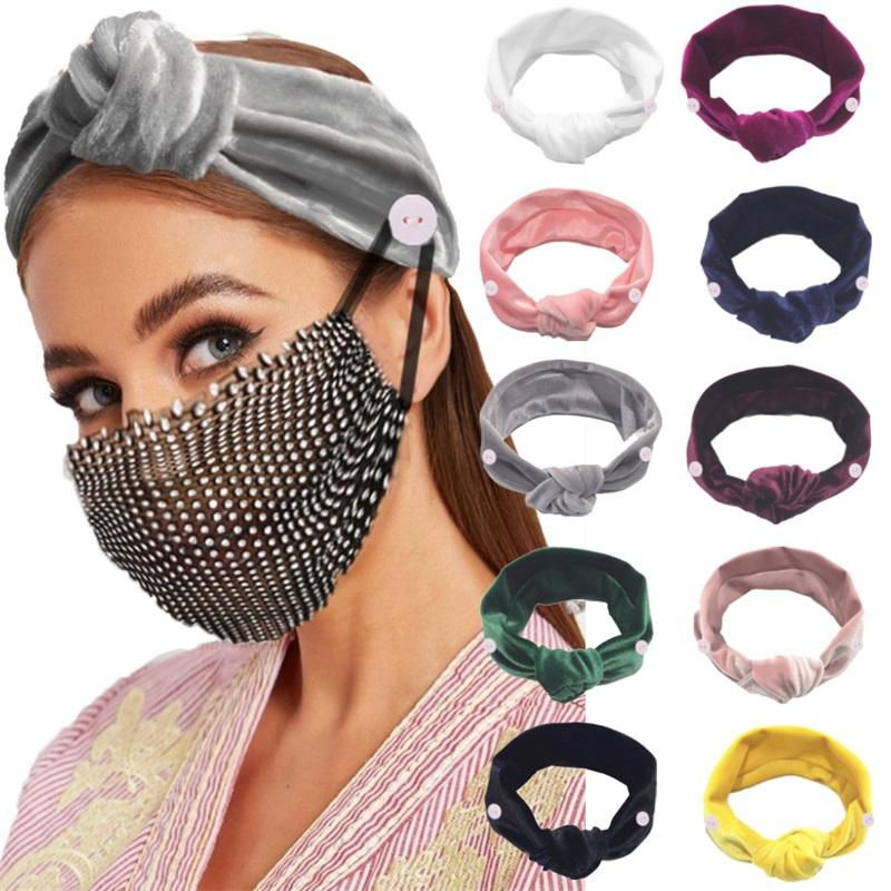 Headband Scrunchie With Mask Buckle For Nurse Doctor Fashion Bandeau Hairs Tie Elastic Hairbands Hair Accessories DHD1598