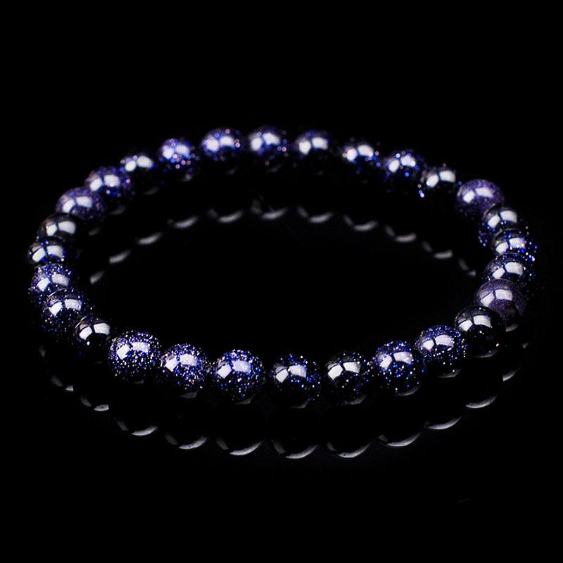 jinzeyi classic Natural blue sand stone Bracelet for men and women trendy 8mm star light crystal bracelet simple jewelry present