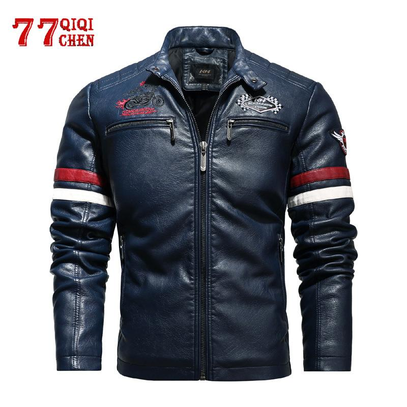Men's Motorcycle Leather Jacket 2020 Fashion Biker Colorblock PU Jacket with Embroidery Epaulet Faux Leather Coat Male