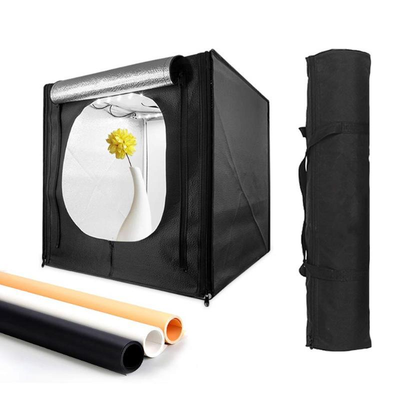 Light Box Photo Studio LED 40/50/60 centimetri Fotografia portatile Tenda Table Top Tenda ripresa con 3 colori Fondali per Still Life