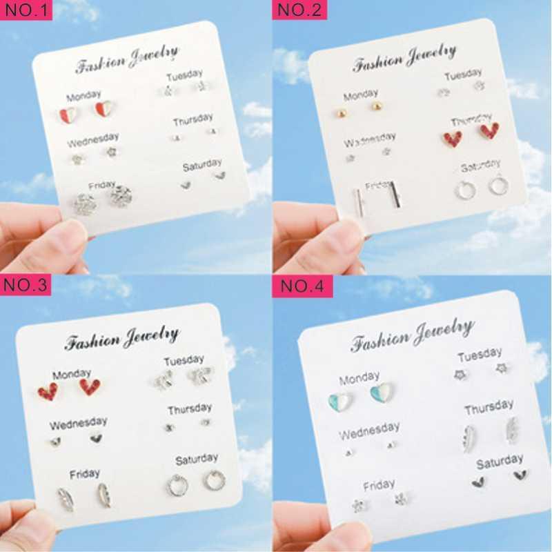 12 adet = kadın küpe 6 çift sevimli takım elbise kombinasyonu bayanlar moda takı basit Kore versiyonu sıcak
