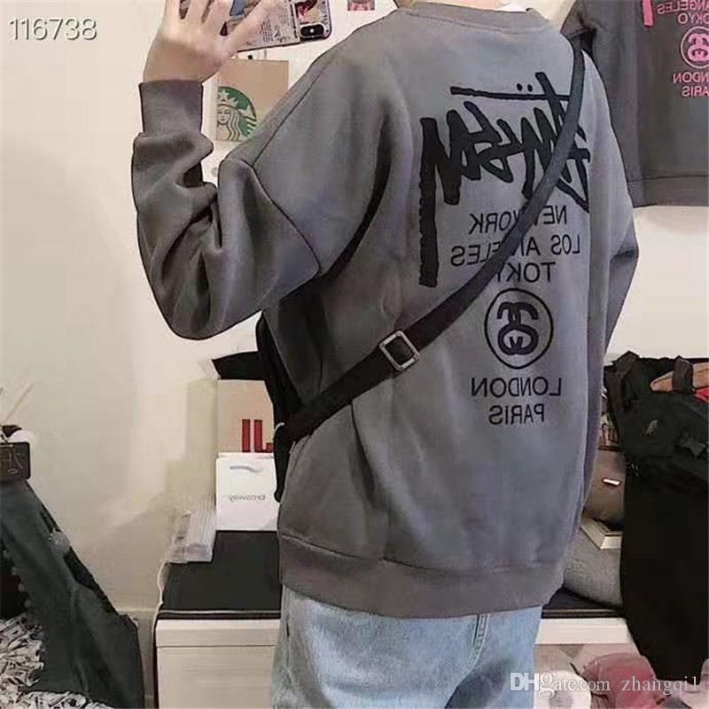 Nuovo arrivo pieno manica lunga maglione termico Abbigliamento rotonde fan Collare caldo 702-STUSSY peluche degli uomini di Top indossare d'inverno del ricamo di modo