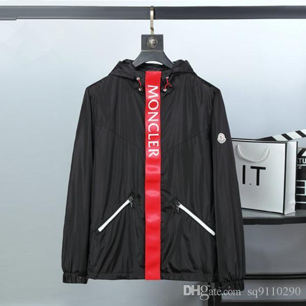 İlkbahar Sonbahar Lüks monc siyah Ceket kapüşonlu rüzgarlık ceket Kalın Coats Erkek ceketler giysiler için 2020 Yeni Erkek moda tasarımcısı ceketler