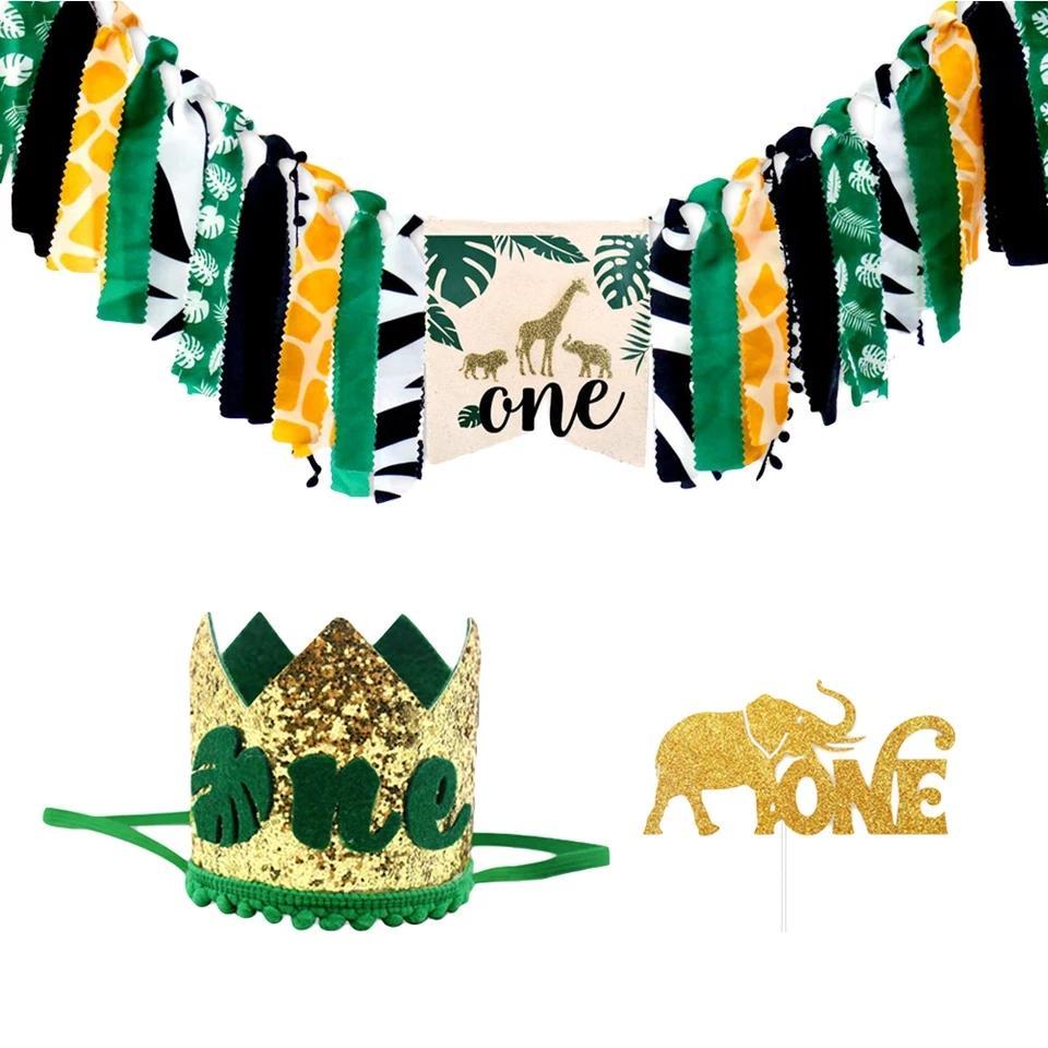 Un an bannière d'anniversaire de fille de garçon Chaise de salle Pull Drapeau animal de jungle Themed Garland Bunting Décoration