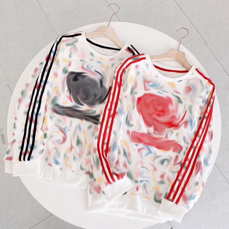Ah2020 sonbahar ve kış kadın yeni tam tişört kazak baskı yuvarlak boyun kazak ebeveyn-çocuk uzun kollu tişört 0GUNF
