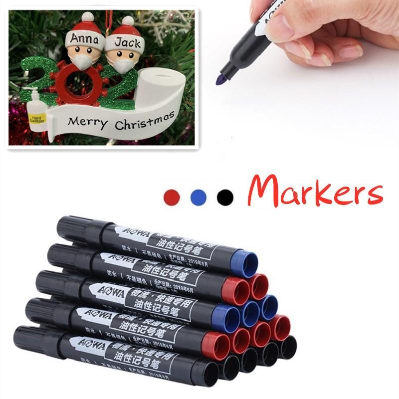 쓰기 수지 제품 블랙 레드 블루 PVC 오일 마크 펜 방수 예술 문구 마킹 펜에 대한 총알 팁 3 색 Permanet 마커