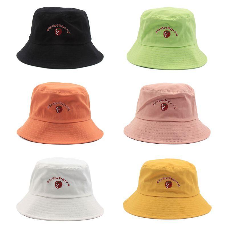 Harajuku Женщины Хлопок Bucket Hat Сладкие клубники Letters вышивки Панама Cap Q0KE