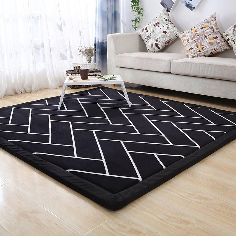 Thicken Tapete preto e branco estilo listrado tapete de chão Quarto de criança tapetes tatami Quarto cabeceira antiderrapante Tapetes tapis salão de beleza