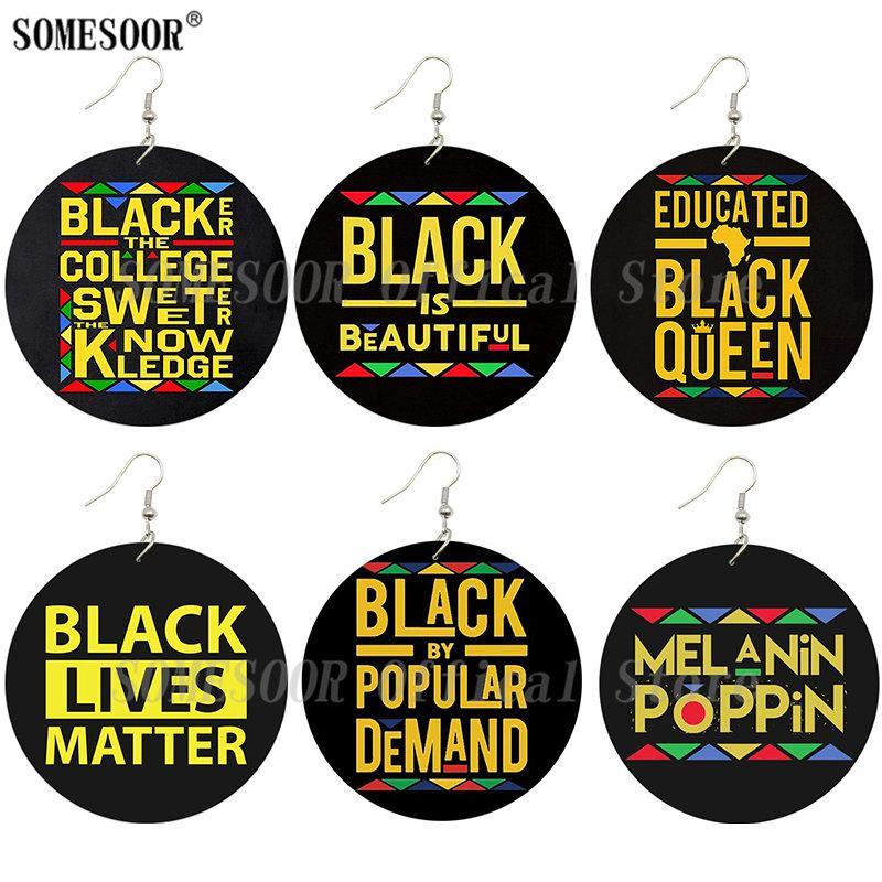 SOMESOOR Baskılı Siyah Atasözü Popüler Kadın Hediyeler için Ahşap Damla Küpe Melanin Poppin Afro Kraliçe İlham Writings Talep