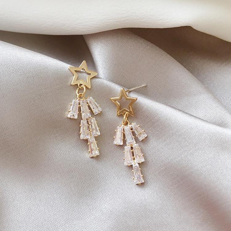 1MmXC S925 gümüş iğne kadın kolye Kristal Küpe kristal kolye zarif niş küpe Kore tarzı beş yıldızlı elmas kişiselleştirilmiş