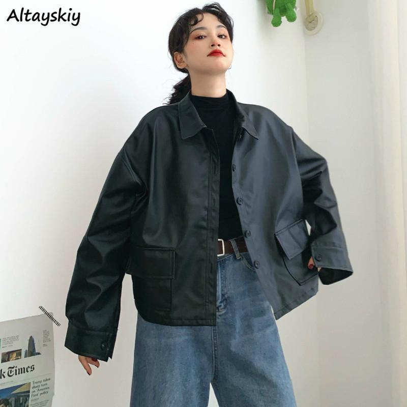 Jacken Frauen PU-lose Knopftaschen Windjacke Umlegekragen koreanische Art BF Ulzzang 2020 Street Damen Freizeit Trendy