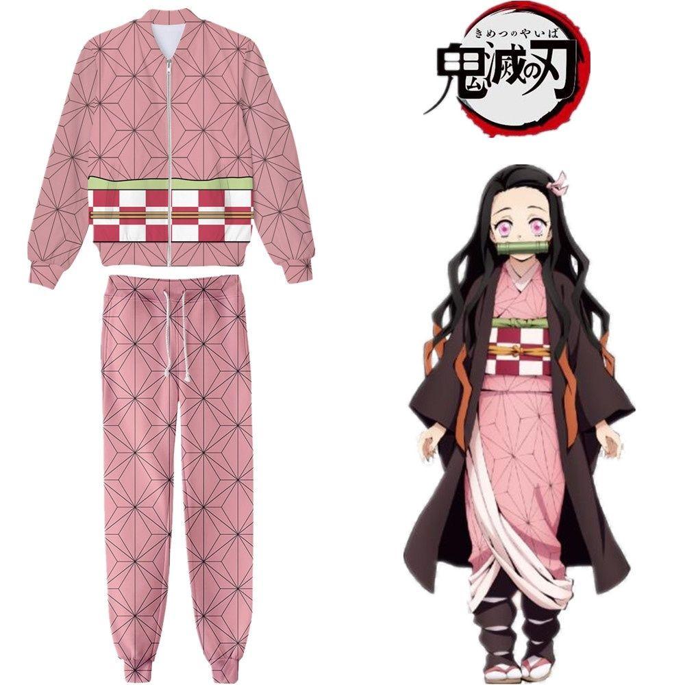 Japonya Anime Demon Slayer Kimetsu Yok Yaiba Kamado Nezuko Cosplay Kostüm Coat Ceket Hoodie Spor Tam Set