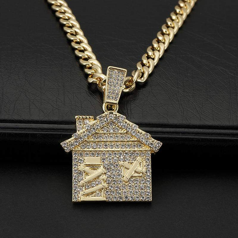 Anhänger Halsketten Hip Hop Schmuck Liebe Haus Euro Out Halskette Für Mann Frauen Mode Zirkon