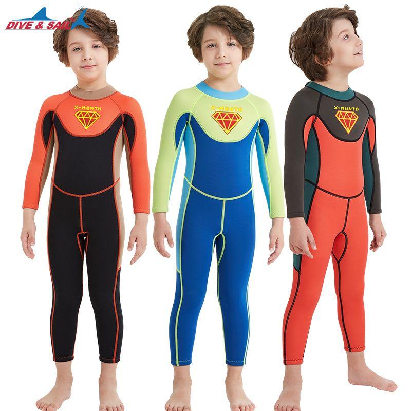 enfants DIVESAIL garçons maillot de bain combinaison une pièce wetsuits 2.5mm maillot de bain de plongée de la peau pour les enfants d'eau froide garçons maillot de bain