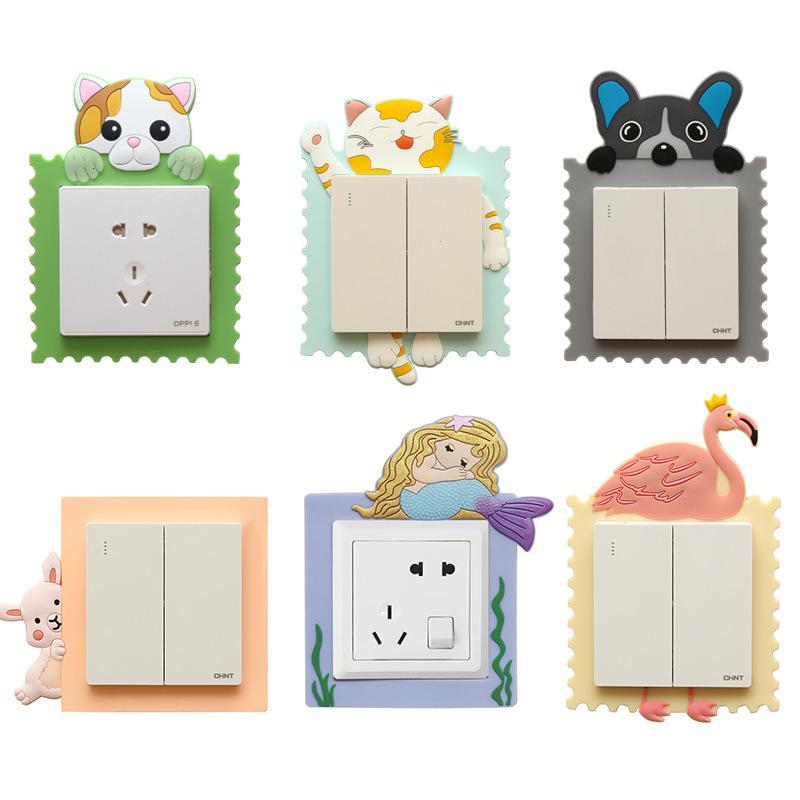 Switch sticker Cartoon creative silicone socket protective cover wall sticker luminous stereo household type 86 switch decorative sticker