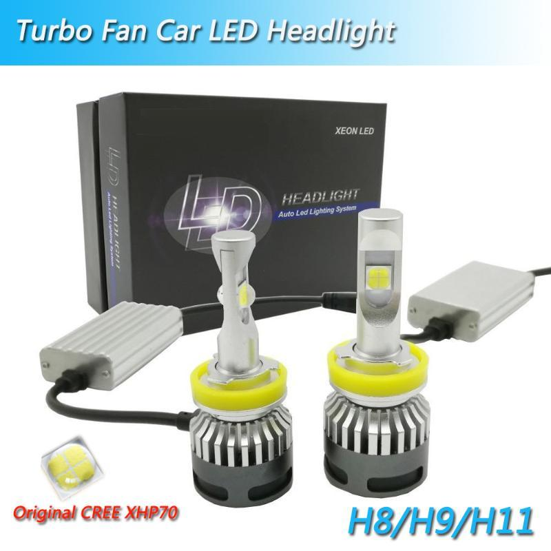 الأصل 12V 13200lm X70 XHP70 H11 55W المصابيح السيارات أدى H4 H8 H9 9005 9006 9012 المصابيح الأمامية للسيارات بقيادة H7 مع مروحة توربو